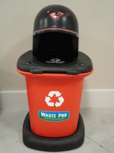 Photo of recycling bin with Orioles logo