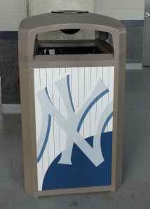 Photo of Yankees symbol on trash can