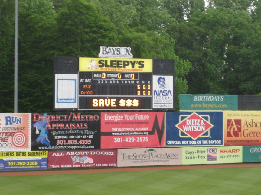 Outfield fence and warning track, Bowie Baysox Stadium