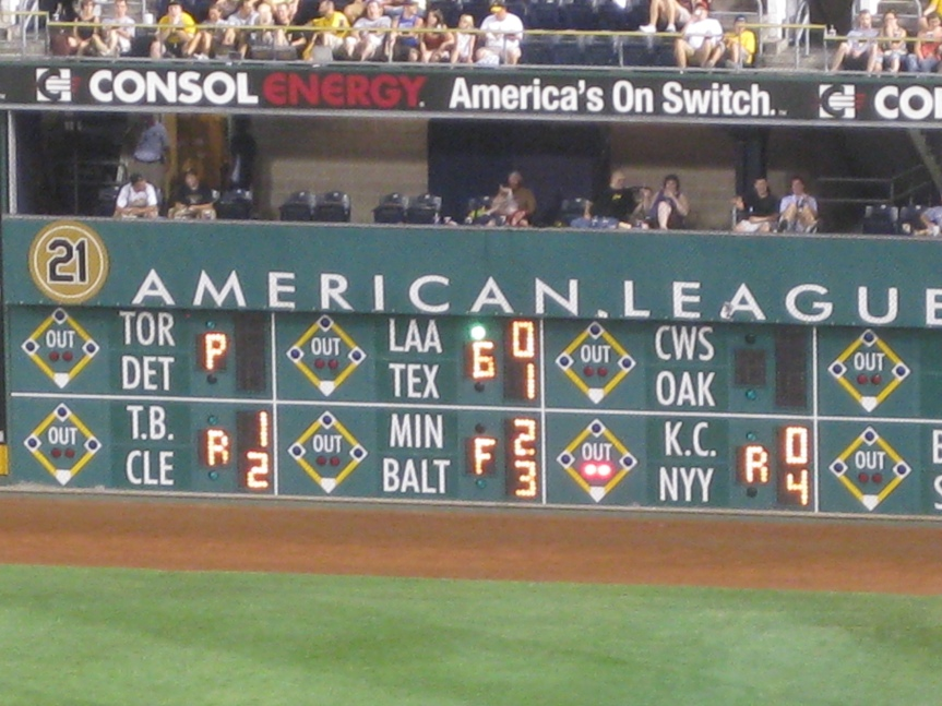 Warning track in front of out-of-town scoreboard at PNC Park