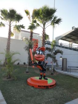 Life-sized bobblehead at Ed Smith Stadium, Sarasota, FL