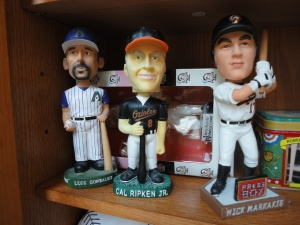 Three bobbleheads from my collection, including Cal Ripken and Nick Markakis