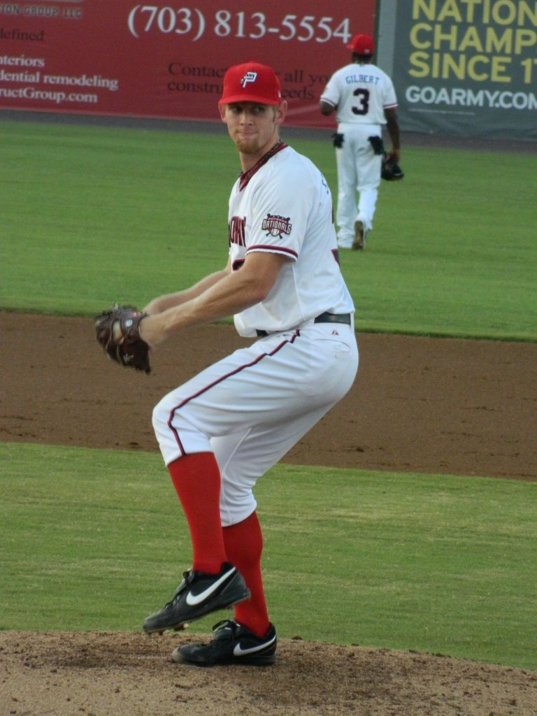 Strasburg pitching for Potomac, 8/12/2011