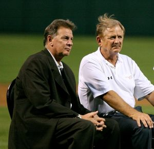 Mike Flanagan and Rick Dempsey in 2007 (photo by Keith Allison via wikipedia)