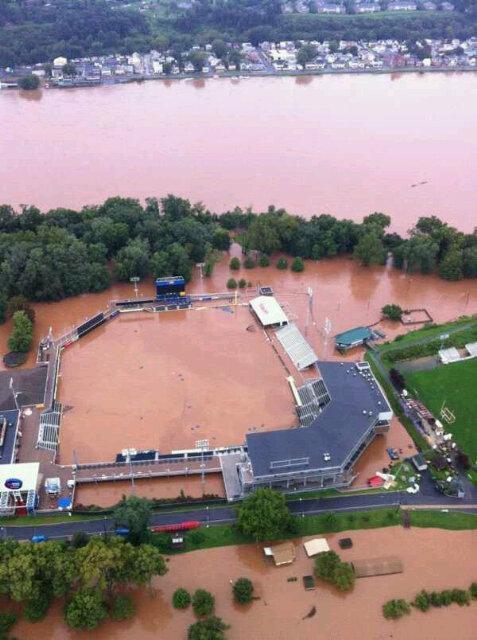 Harrisburg minor league stadium flooded 9/8/2011
