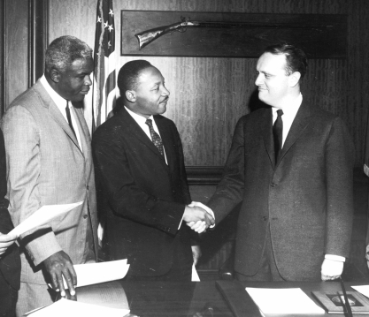 Civil Rights leader Martin Luther King, Jr. and baseball great Jackie Robinson met with Governor Edward T. Breathitt in March, 1964 to urge passage of a civil rights bill in Kentucky.
