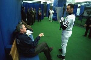 George Bush and Derek Jeter, 2001 World Series