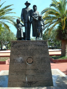 Statue honoring immigrants to Ybor City, Florida
