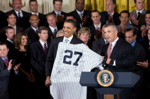 Obama, Yankees at White House ceremony, 2010