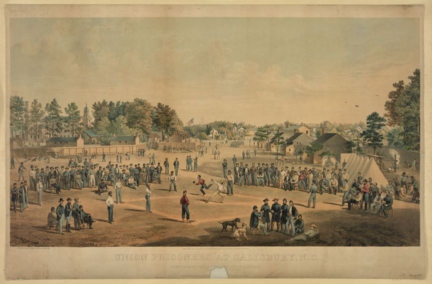 Union prisoners playing baseball in Salisbury, NC, ca. 1863