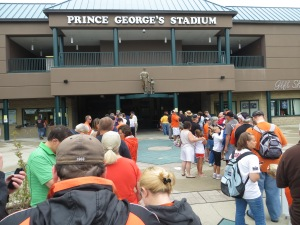 Line outside the stadium waiting to get Manny Machado Garden Gnomes