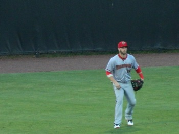 Bryce Harper plays the outfield for Harrisburg at Bowie