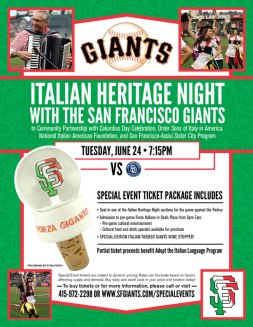 Flyer for Italian Heritage Night with the San Francisco Giants